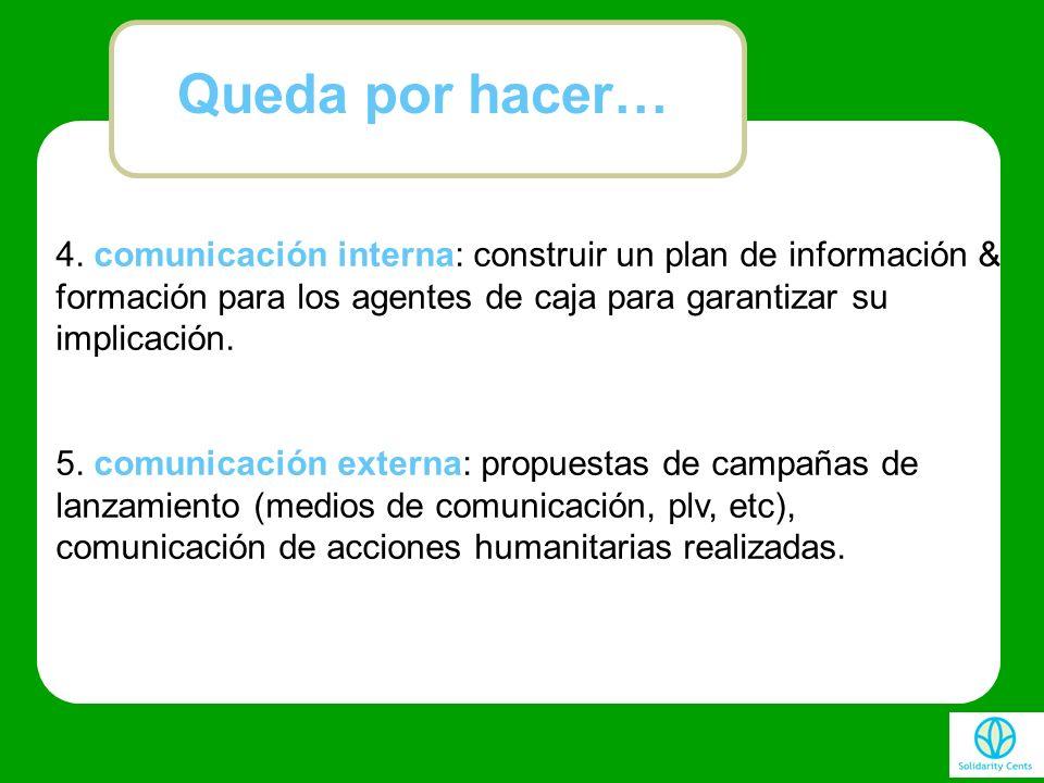 4. comunicación interna: construir un plan de información & formación para los agentes de caja para garantizar su implicación. 5. comunicación externa