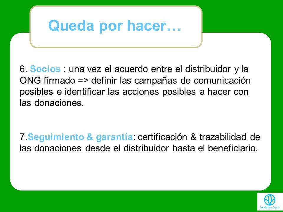 6. Socios : una vez el acuerdo entre el distribuidor y la ONG firmado => definir las campañas de comunicación posibles e identificar las acciones posi