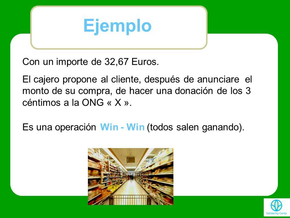 Con un importe de 32,67 Euros. El cajero propone al cliente, después de anunciare el monto de su compra, de hacer una donación de los 3 céntimos a la