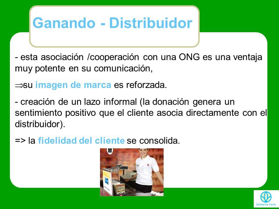 - esta asociación /cooperación con una ONG es una ventaja muy potente en su comunicación, su imagen de marca es reforzada. - creación de un lazo infor