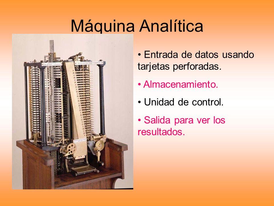 Máquina Analítica Entrada de datos usando tarjetas perforadas. Almacenamiento. Unidad de control. Salida para ver los resultados.