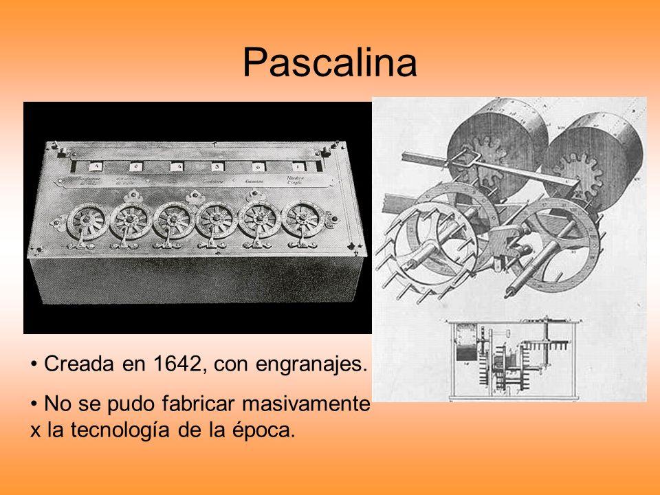 Pascalina Creada en 1642, con engranajes. No se pudo fabricar masivamente x la tecnología de la época.