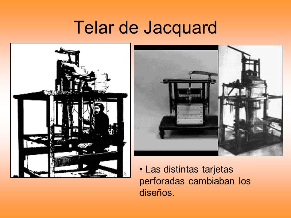Telar de Jacquard Las distintas tarjetas perforadas cambiaban los diseños.