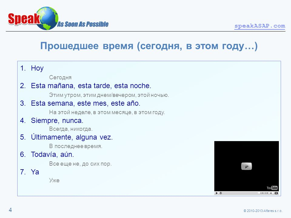© 2010-2013 Alfares s.r.o. speakASAP.com 4 Прошедшее время (сегодня, в этом году…) 1.Hoy Сегодня 2.Esta mañana, esta tarde, esta noche. Этим утром, эт