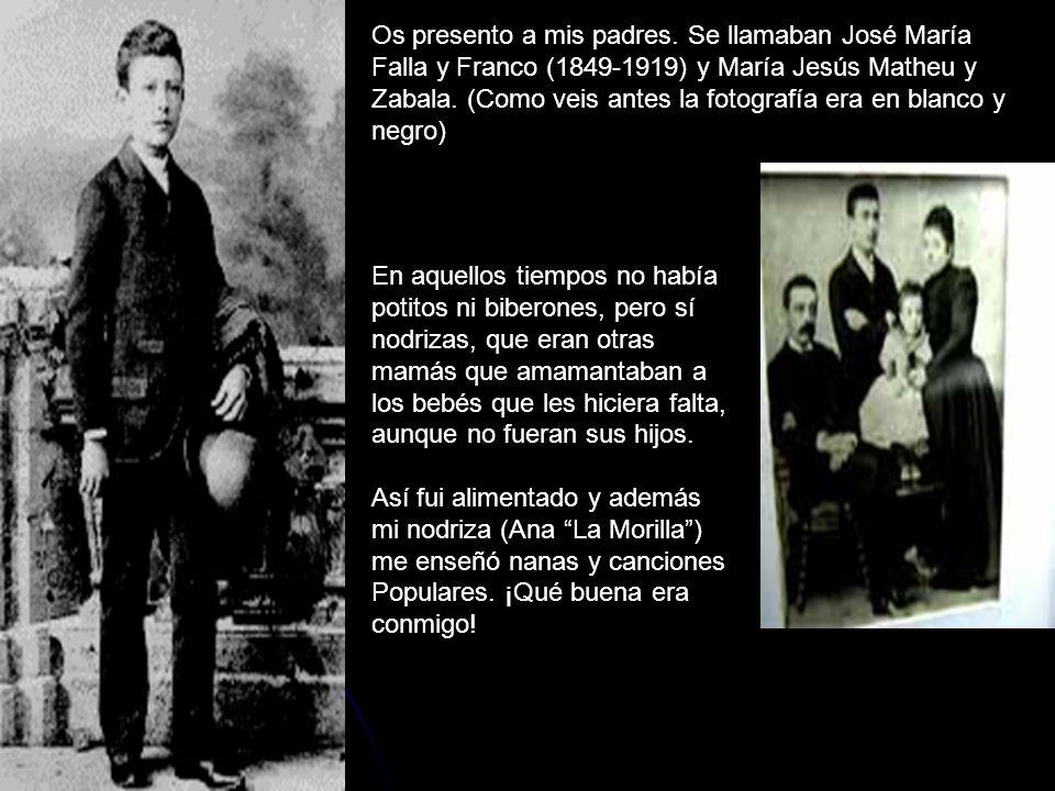 Os presento a mis padres. Se llamaban José María Falla y Franco (1849-1919) y María Jesús Matheu y Zabala. (Como veis antes la fotografía era en blanc