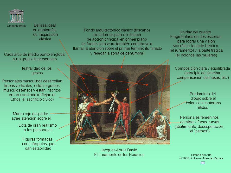 Claseshistoria Historia del Arte © 2006 Guillermo Méndez Zapata Jacques-Louis David El Juramento de los Horacios Predominio del dibujo sobre el color,