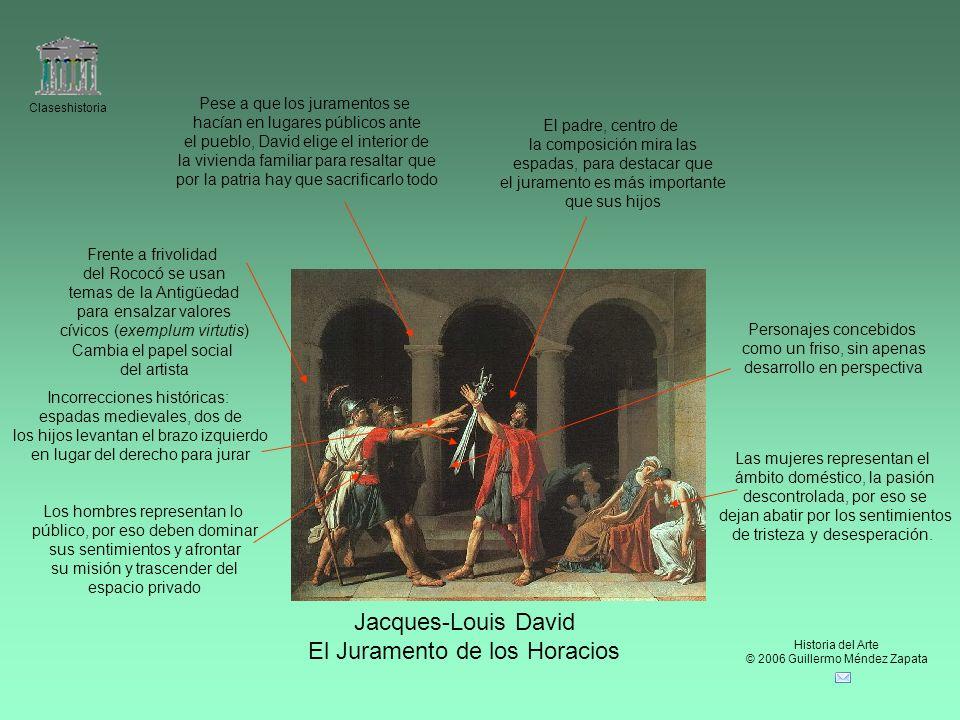 Claseshistoria Historia del Arte © 2006 Guillermo Méndez Zapata Jacques-Louis David El Juramento de los Horacios Frente a frivolidad del Rococó se usa