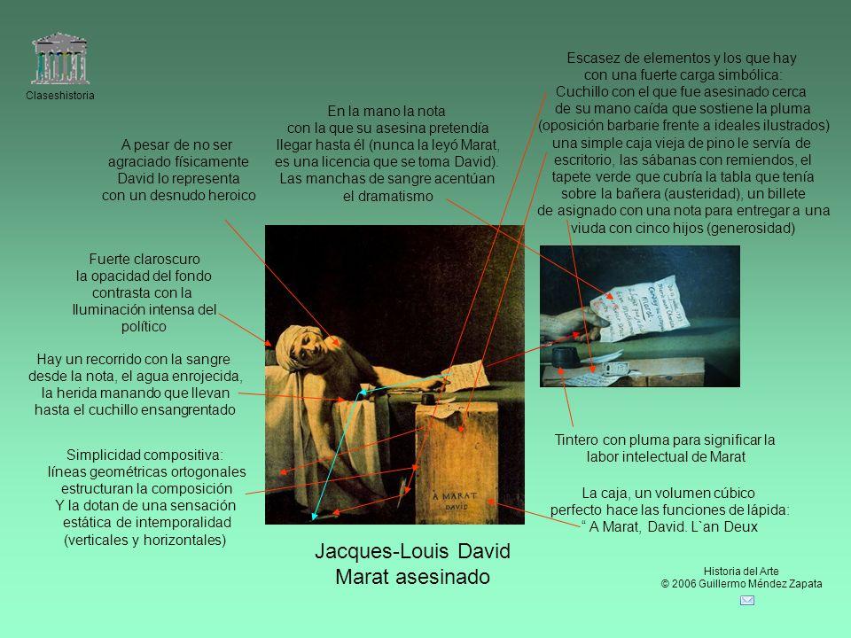 Claseshistoria Historia del Arte © 2006 Guillermo Méndez Zapata Jacques-Louis David Marat asesinado Simplicidad compositiva: líneas geométricas ortogo