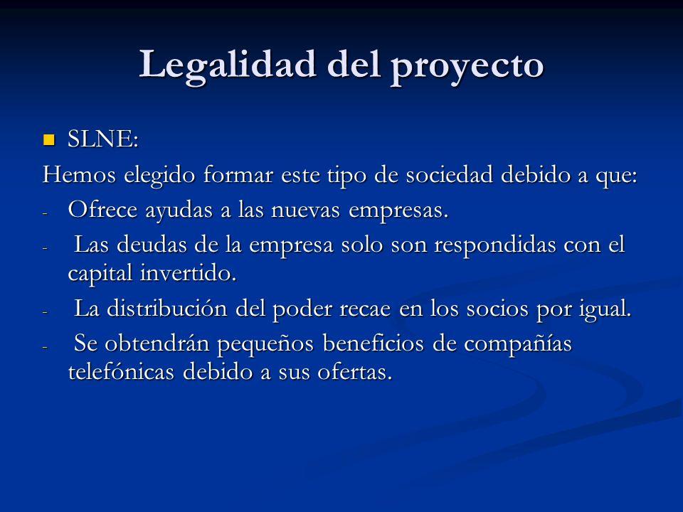 Legalidad del proyecto SLNE: SLNE: Hemos elegido formar este tipo de sociedad debido a que: - Ofrece ayudas a las nuevas empresas. - Las deudas de la