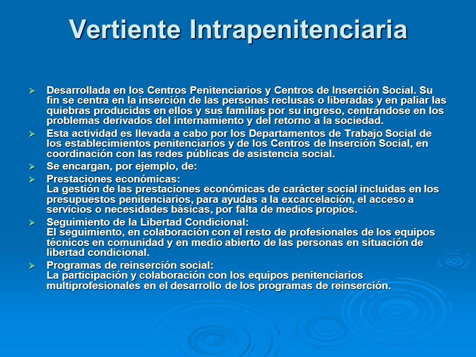 Vertiente Intrapenitenciaria Desarrollada en los Centros Penitenciarios y Centros de Inserción Social.