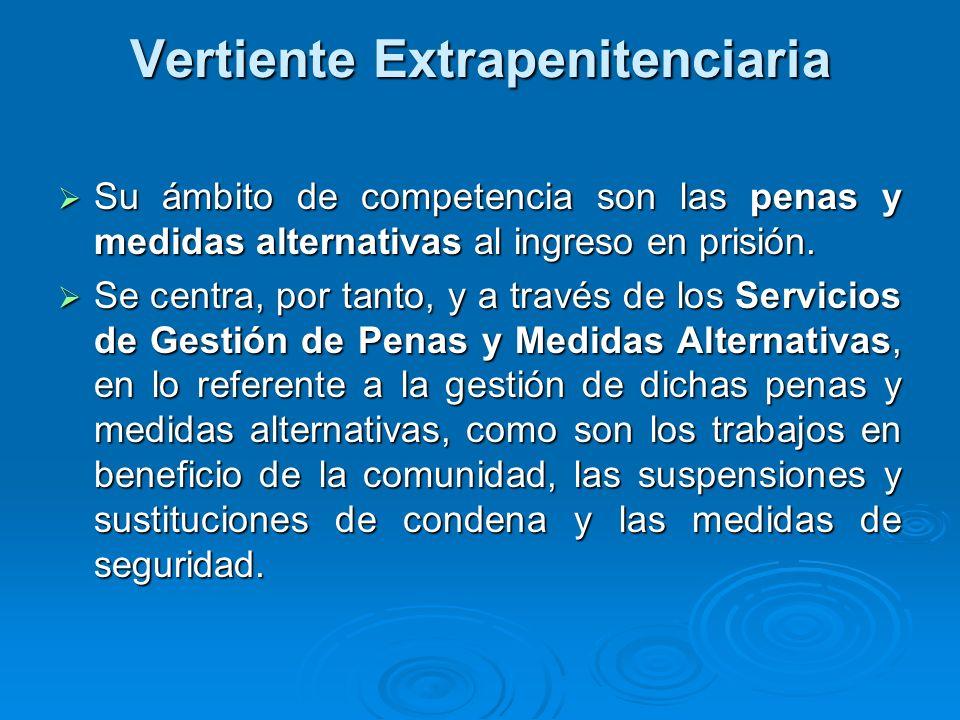 Vertiente Extrapenitenciaria Su ámbito de competencia son las penas y medidas alternativas al ingreso en prisión. Su ámbito de competencia son las pen
