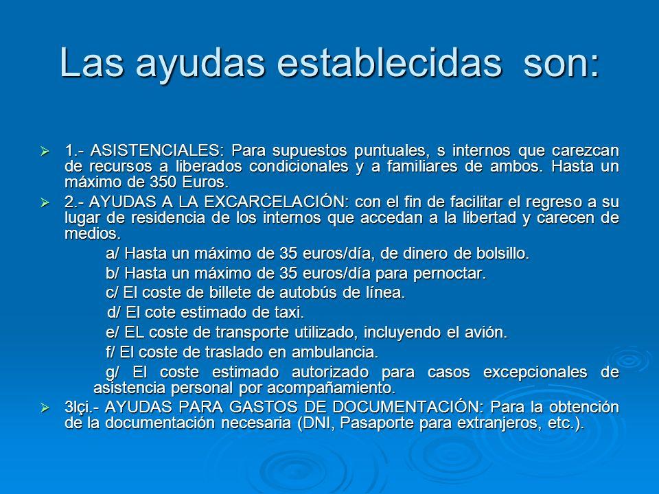 Las ayudas establecidas son: 1.- ASISTENCIALES: Para supuestos puntuales, s internos que carezcan de recursos a liberados condicionales y a familiares de ambos.