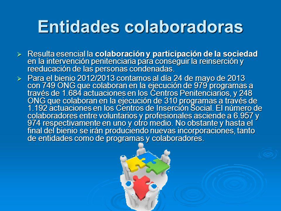 Entidades colaboradoras Resulta esencial la colaboración y participación de la sociedad en la intervención penitenciaria para conseguir la reinserción
