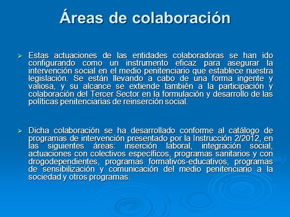 Áreas de colaboración Estas actuaciones de las entidades colaboradoras se han ido configurando como un instrumento eficaz para asegurar la intervenció