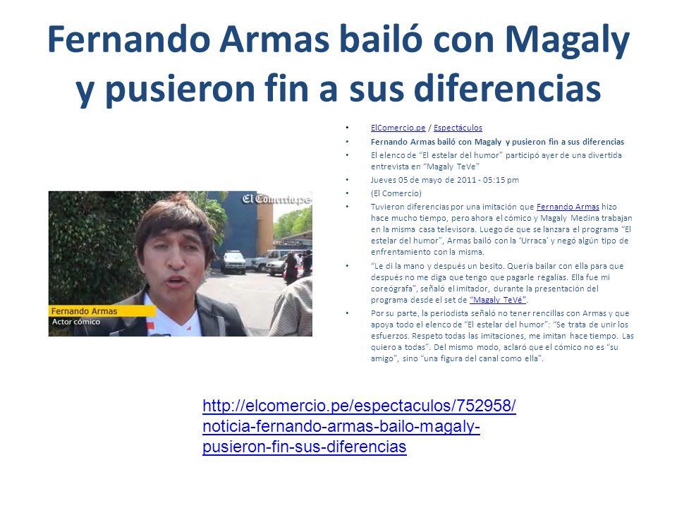 Fernando Armas bailó con Magaly y pusieron fin a sus diferencias ElComercio.pe / Espectáculos ElComercio.peEspectáculos Fernando Armas bailó con Magal