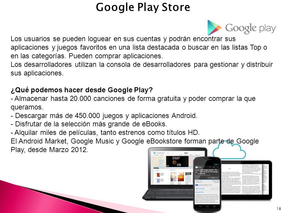 18 Google Play Store Los usuarios se pueden loguear en sus cuentas y podrán encontrar sus aplicaciones y juegos favoritos en una lista destacada o bus