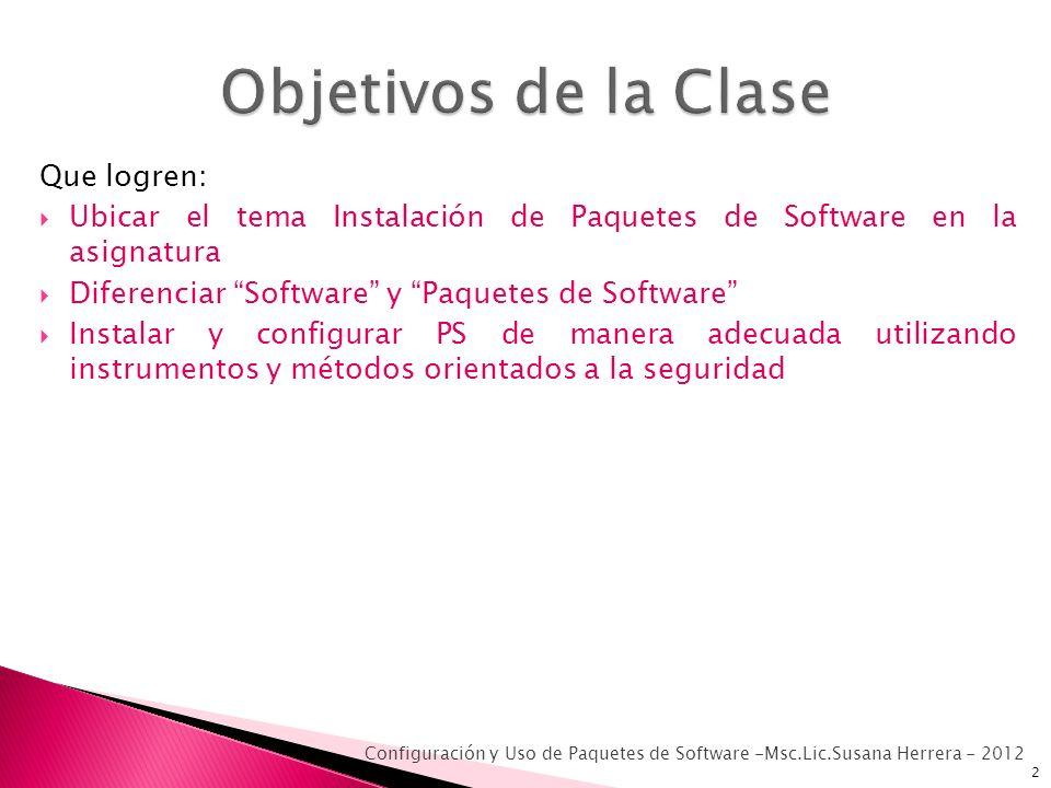 Que logren: Ubicar el tema Instalación de Paquetes de Software en la asignatura Diferenciar Software y Paquetes de Software Instalar y configurar PS d