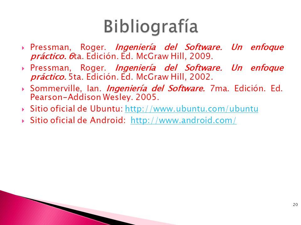 Pressman, Roger. Ingeniería del Software. Un enfoque práctico. 6ta. Edición. Ed. McGraw Hill, 2009. Pressman, Roger. Ingeniería del Software. Un enfoq