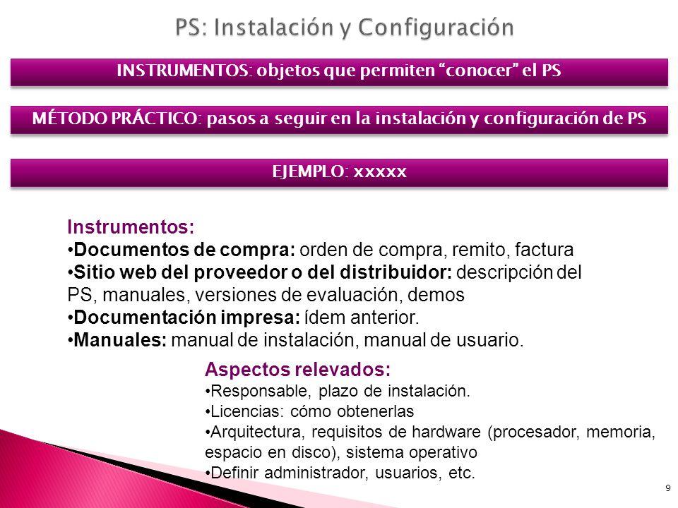 9 INSTRUMENTOS: objetos que permiten conocer el PS Instrumentos: Documentos de compra: orden de compra, remito, factura Sitio web del proveedor o del