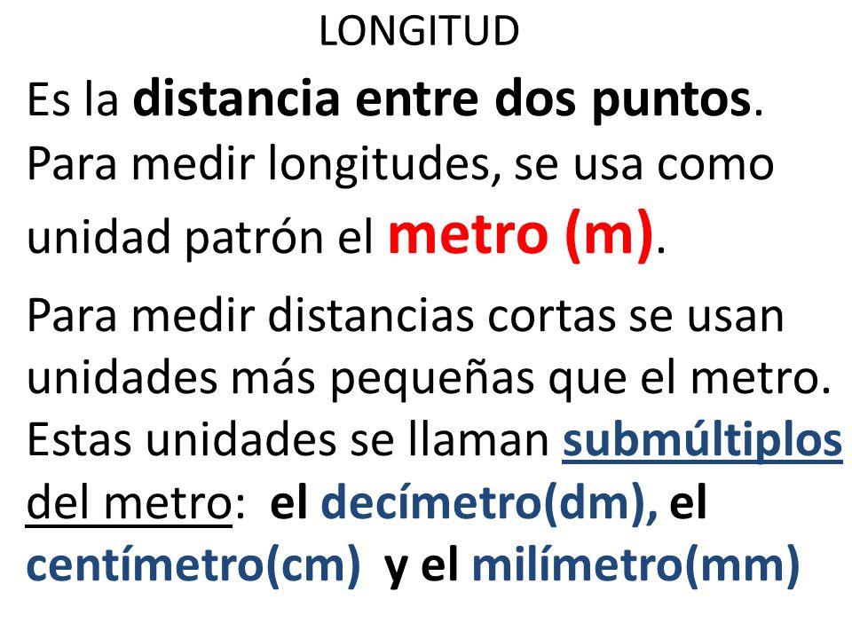 LONGITUD Es la distancia entre dos puntos. Para medir longitudes, se usa como unidad patrón el metro (m). Para medir distancias cortas se usan unidade
