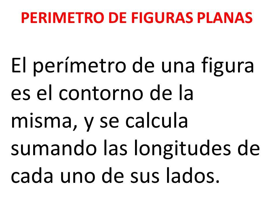PERIMETRO DE FIGURAS PLANAS El perímetro de una figura es el contorno de la misma, y se calcula sumando las longitudes de cada uno de sus lados.