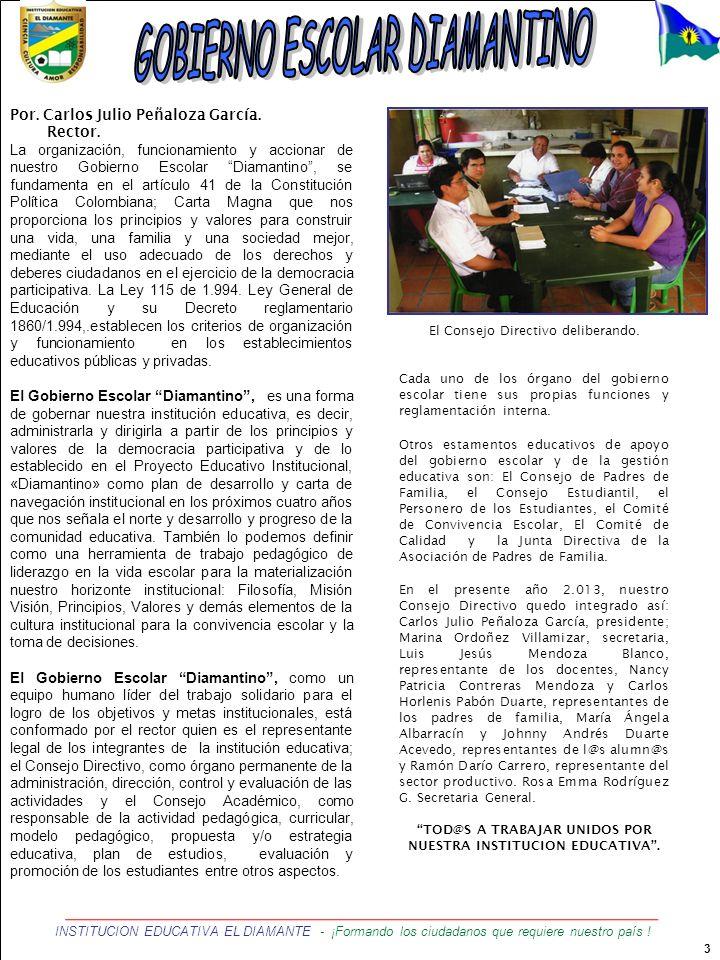 3 INSTITUCION EDUCATIVA EL DIAMANTE - ¡Formando los ciudadanos que requiere nuestro país ! Por. Carlos Julio Peñaloza García. Rector. La organización,