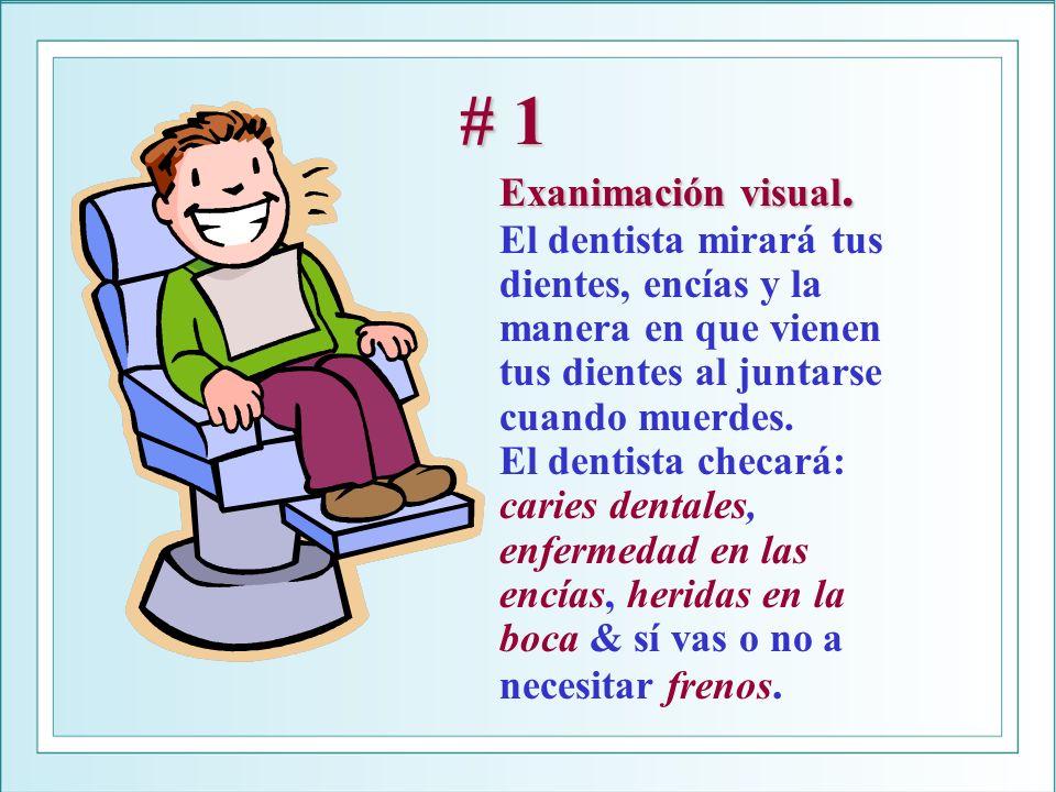 # 1 Exanimación visual. # 1 Exanimación visual. El dentista mirará tus dientes, encías y la manera en que vienen tus dientes al juntarse cuando muerde