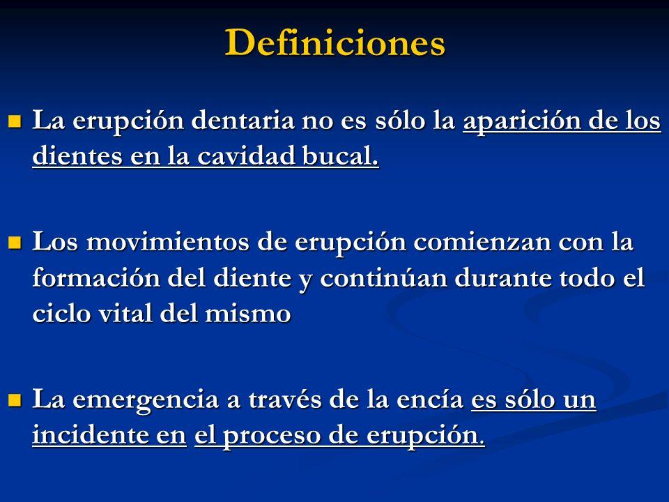 Definiciones La erupción dentaria no es sólo la aparición de los dientes en la cavidad bucal. La erupción dentaria no es sólo la aparición de los dien
