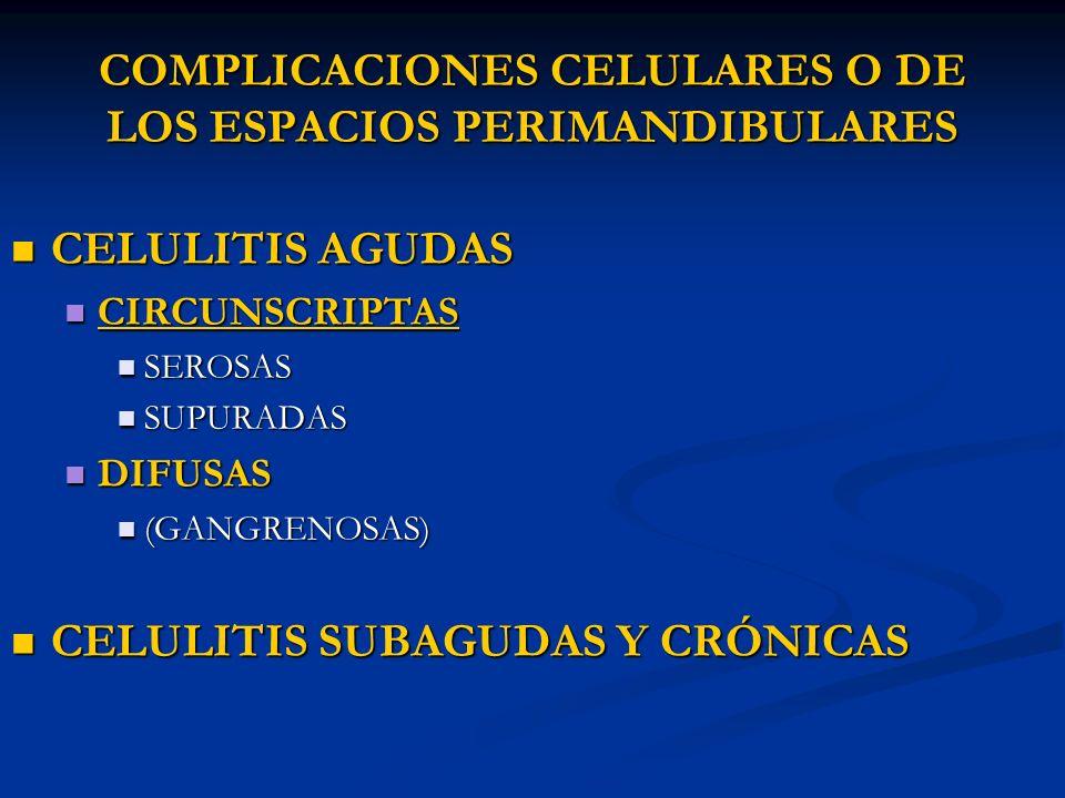 COMPLICACIONES CELULARES O DE LOS ESPACIOS PERIMANDIBULARES CELULITIS AGUDAS CELULITIS AGUDAS CIRCUNSCRIPTAS CIRCUNSCRIPTAS SEROSAS SEROSAS SUPURADAS