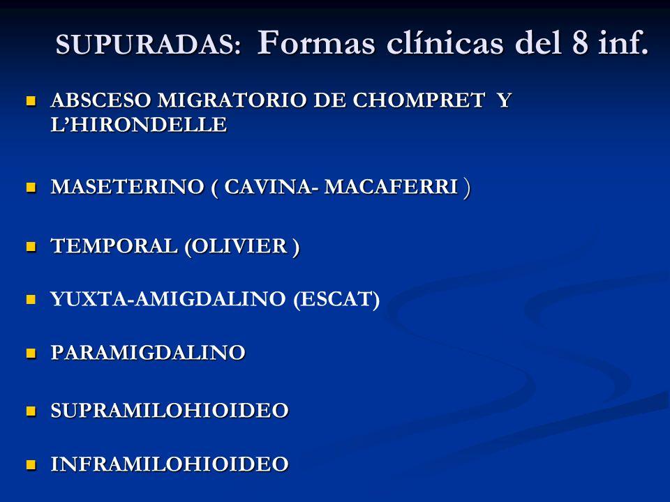 SUPURADAS: Formas clínicas del 8 inf. ABSCESO MIGRATORIO DE CHOMPRET Y LHIRONDELLE ABSCESO MIGRATORIO DE CHOMPRET Y LHIRONDELLE MASETERINO ( CAVINA- M