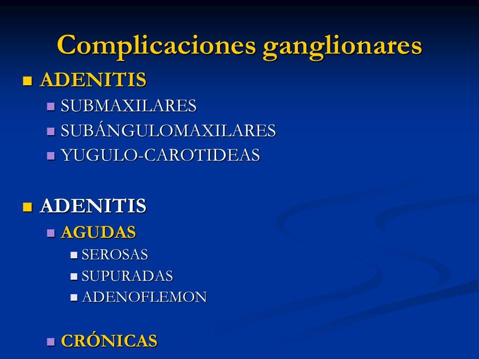 Complicaciones ganglionares ADENITIS ADENITIS SUBMAXILARES SUBMAXILARES SUBÁNGULOMAXILARES SUBÁNGULOMAXILARES YUGULO-CAROTIDEAS YUGULO-CAROTIDEAS ADEN