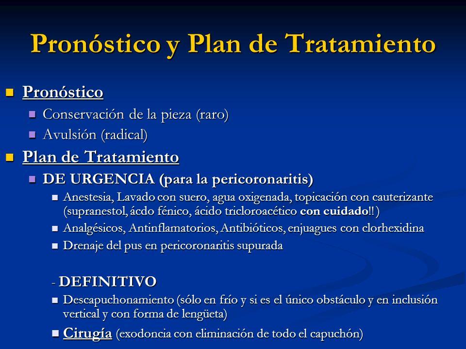 Pronóstico y Plan de Tratamiento Pronóstico Pronóstico Conservación de la pieza (raro) Conservación de la pieza (raro) Avulsión (radical) Avulsión (ra