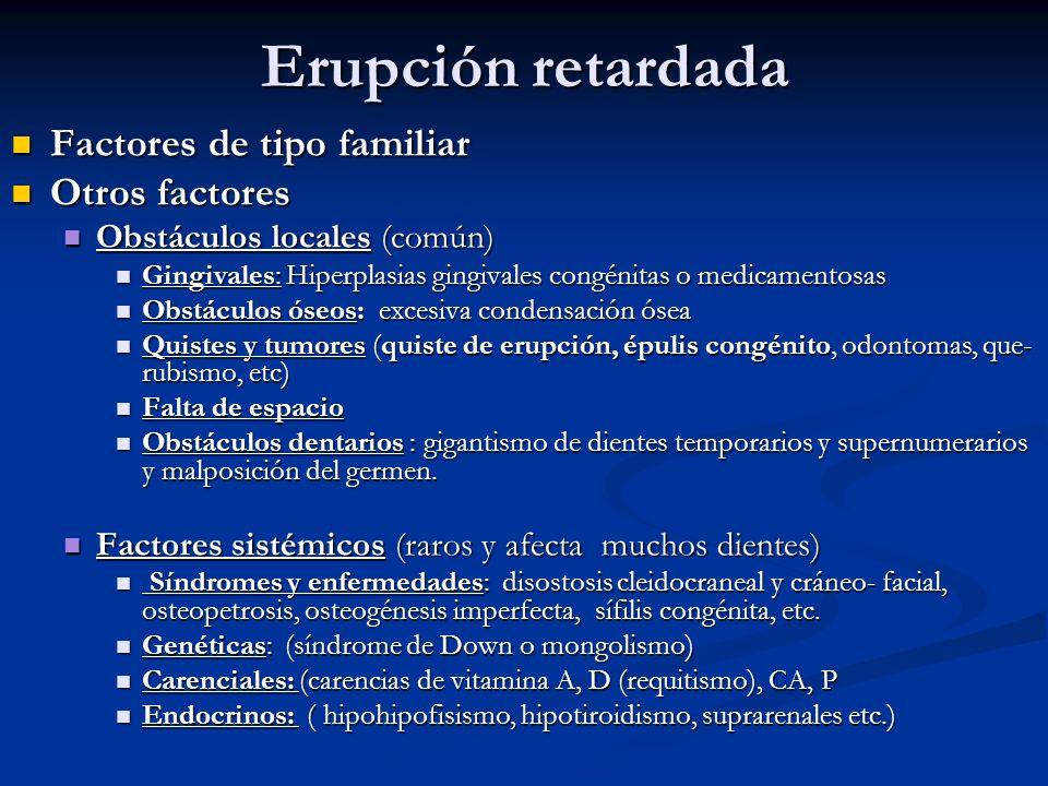 Erupción retardada Factores de tipo familiar Factores de tipo familiar Otros factores Otros factores Obstáculos locales (común) Obstáculos locales (co