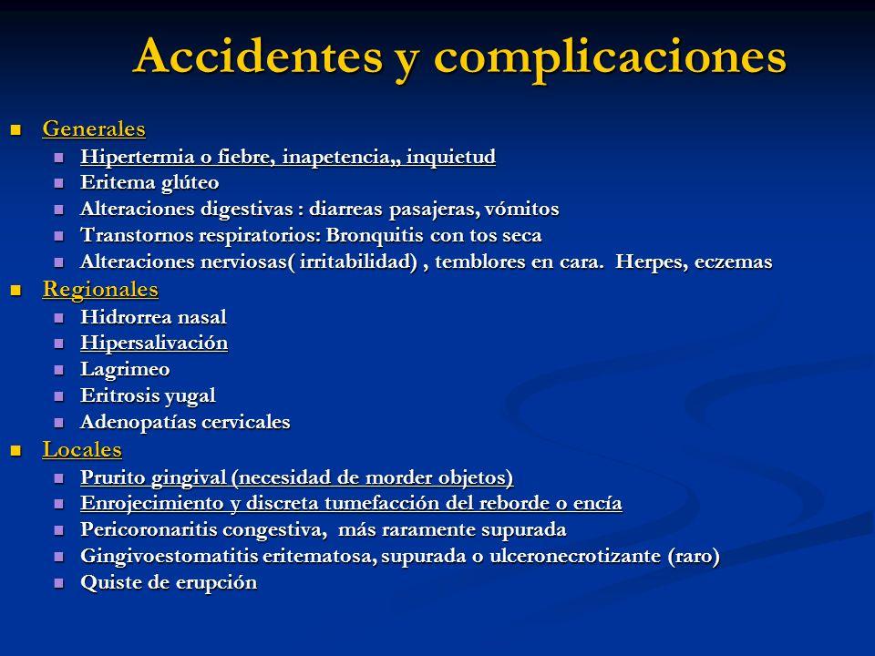 Accidentes y complicaciones Generales Generales Hipertermia o fiebre, inapetencia,, inquietud Hipertermia o fiebre, inapetencia,, inquietud Eritema gl