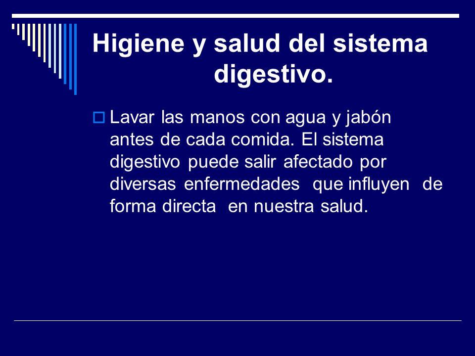 Higiene y salud del sistema digestivo. Lavar las manos con agua y jabón antes de cada comida. El sistema digestivo puede salir afectado por diversas e