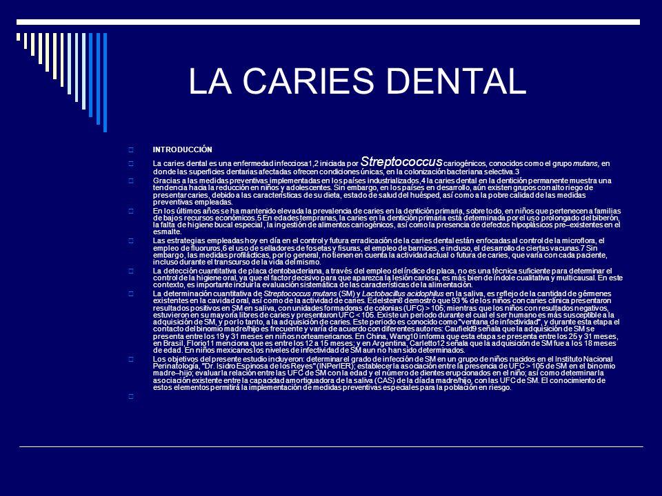 LA CARIES DENTAL INTRODUCCIÓN La caries dental es una enfermedad infecciosa1,2 iniciada por Streptococcus cariogénicos, conocidos como el grupo mutans