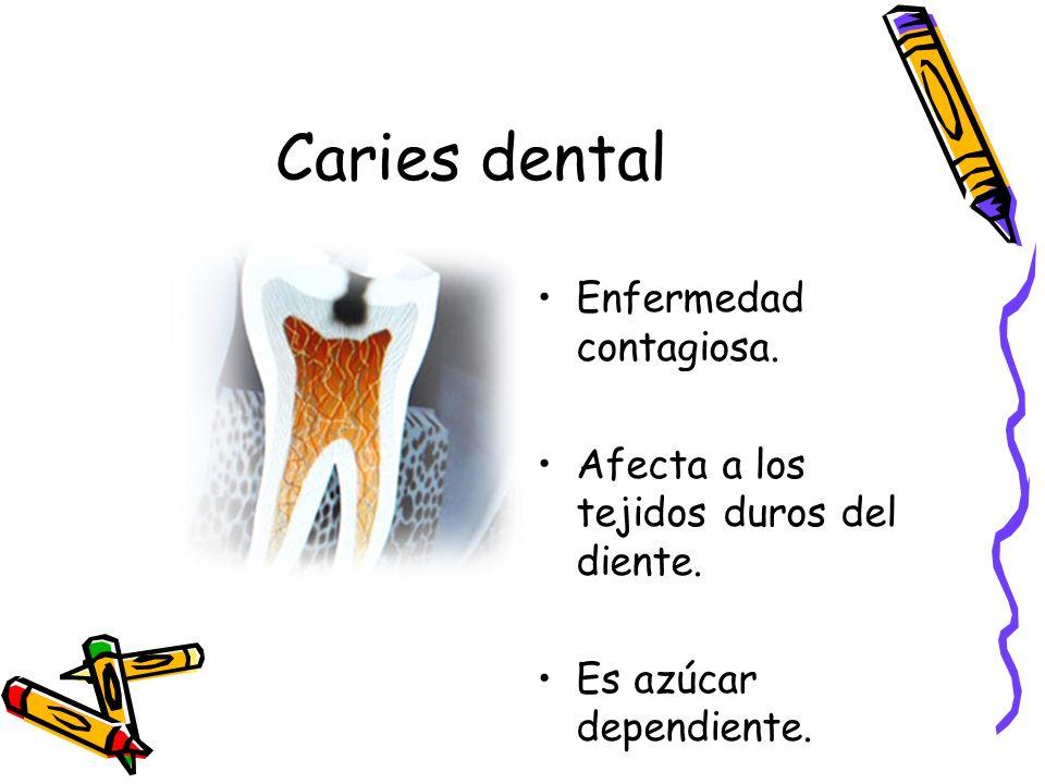 Caries dental Enfermedad contagiosa. Afecta a los tejidos duros del diente. Es azúcar dependiente.