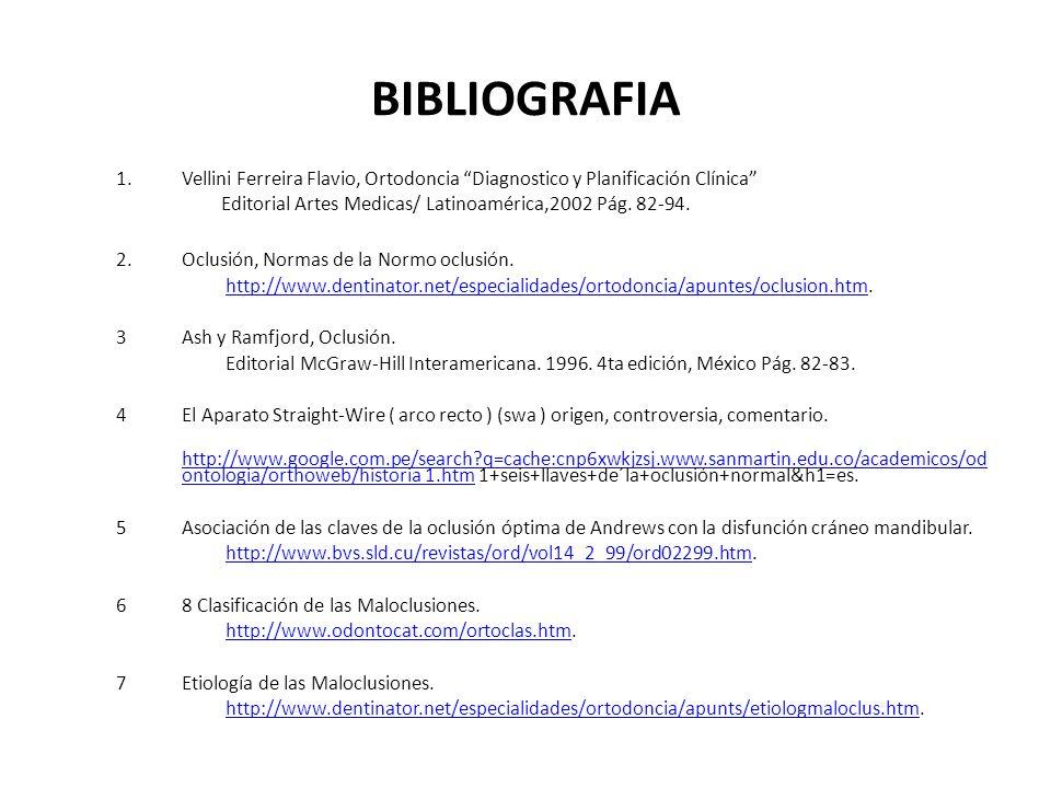 BIBLIOGRAFIA 1.Vellini Ferreira Flavio, Ortodoncia Diagnostico y Planificación Clínica Editorial Artes Medicas/ Latinoamérica,2002 Pág. 82-94. 2.Oclus