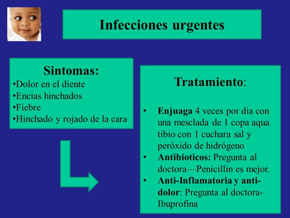 Infecciones urgentes Sintomas: Dolor en el diente Encias hinchados Fiebre Hinchado y rojado de la cara Tratamiento: Enjuaga 4 veces por dia con una me