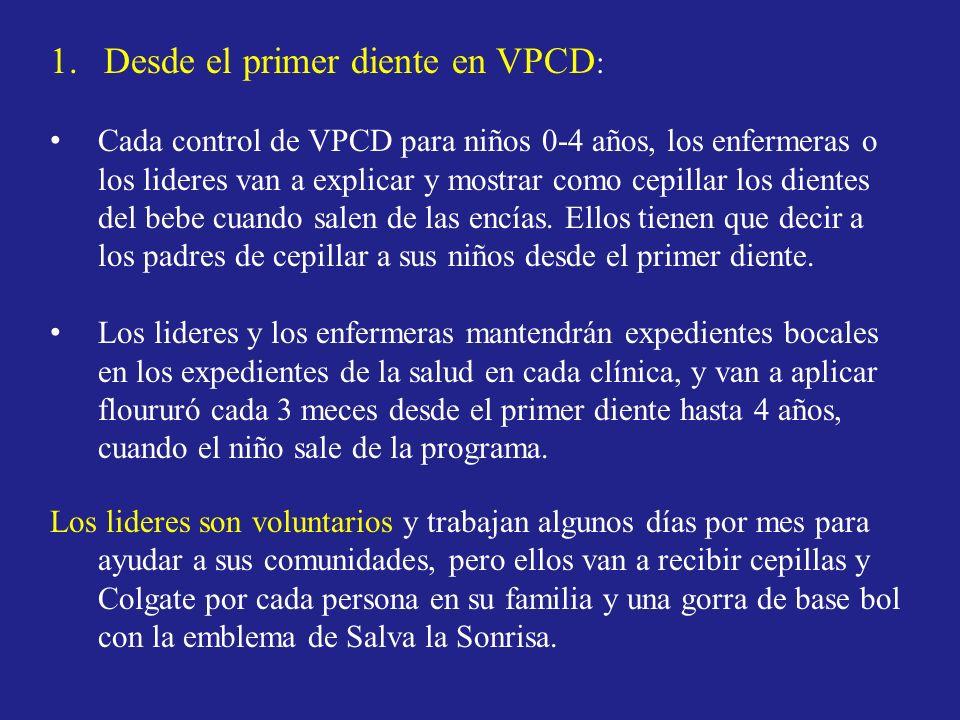 1.Desde el primer diente en VPCD : Cada control de VPCD para niños 0-4 años, los enfermeras o los lideres van a explicar y mostrar como cepillar los d