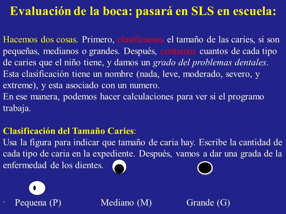 Evaluación de la boca: pasará en SLS en escuela: Hacemos dos cosas. Primero, clasificamos el tamaño de las caries, si son pequeñas, medianos o grandes