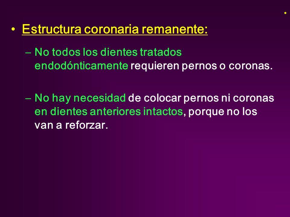Estructura coronaria remanente: –No todos los dientes tratados endodónticamente requieren pernos o coronas.