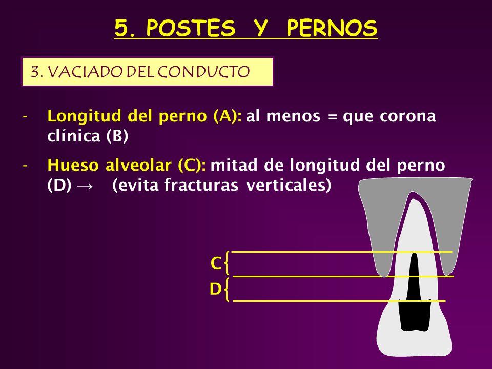 5. POSTES Y PERNOS -Longitud del perno (A): al menos = que corona clínica (B) -Hueso alveolar (C): mitad de longitud del perno (D) (evita fracturas ve