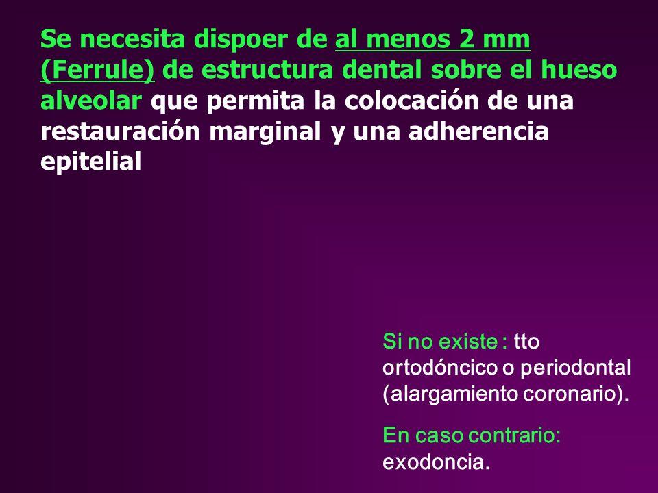 Se necesita dispoer de al menos 2 mm (Ferrule) de estructura dental sobre el hueso alveolar que permita la colocación de una restauración marginal y una adherencia epitelial Si no existe : tto ortodóncico o periodontal (alargamiento coronario).