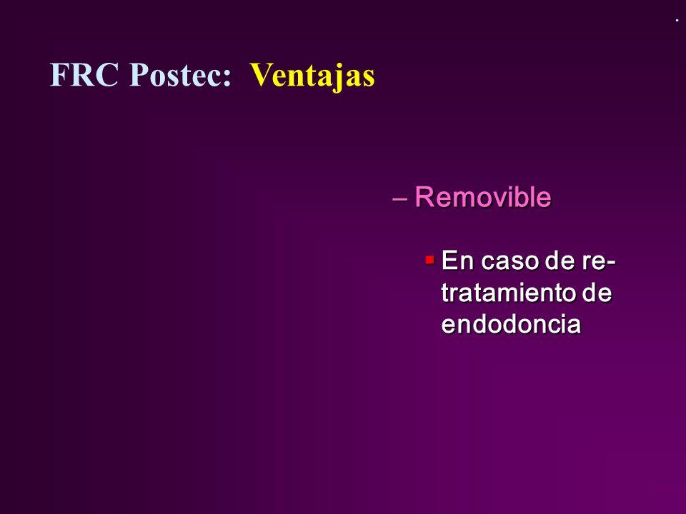 –Removible En caso de re- tratamiento de endodoncia En caso de re- tratamiento de endodoncia FRC Postec: Ventajas.