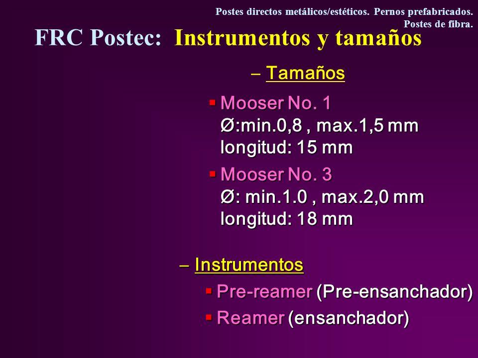 –Tamaños –Instrumentos Pre-reamer (Pre-ensanchador) Pre-reamer (Pre-ensanchador) Reamer (ensanchador) Reamer (ensanchador) Mooser No.