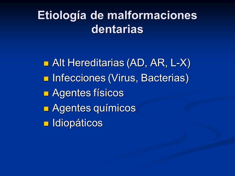 Etiología de malformaciones dentarias Alt Hereditarias (AD, AR, L-X) Alt Hereditarias (AD, AR, L-X) Infecciones (Virus, Bacterias) Infecciones (Virus,