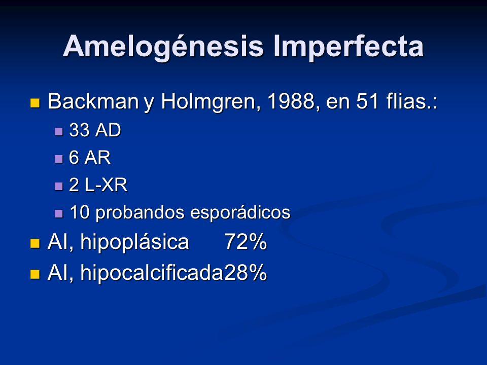 Amelogénesis Imperfecta Backman y Holmgren, 1988, en 51 flias.: Backman y Holmgren, 1988, en 51 flias.: 33 AD 33 AD 6 AR 6 AR 2 L-XR 2 L-XR 10 proband