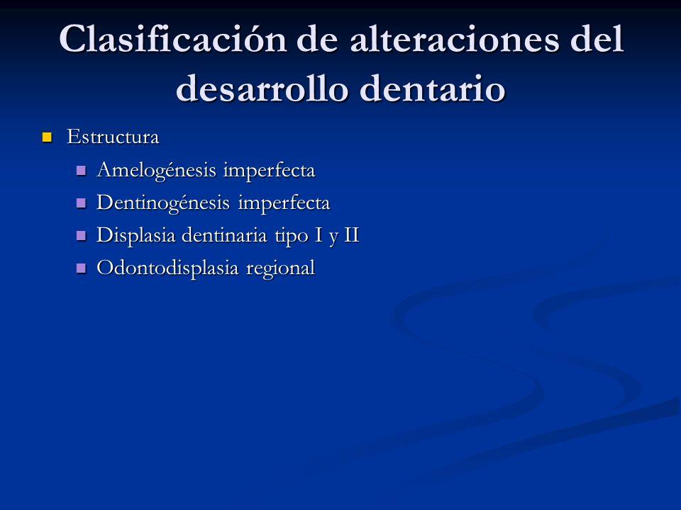 Amelogénesis imperfecta Alteración en la estructura del esmalte en ausencia de enfermedad sistémica Alteración en la estructura del esmalte en ausencia de enfermedad sistémica 14 subtipos, con hipoplasia y/o hipocalcificación, con herencia AD, AR, L-X 14 subtipos, con hipoplasia y/o hipocalcificación, con herencia AD, AR, L-X
