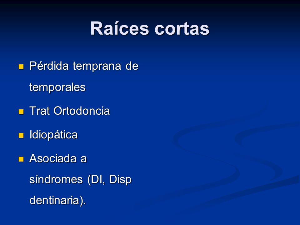 Raíces cortas Pérdida temprana de temporales Pérdida temprana de temporales Trat Ortodoncia Trat Ortodoncia Idiopática Idiopática Asociada a síndromes
